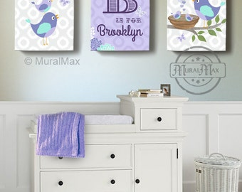 Birdies canvas art, Baby Nursery Decor, Baby Girl Nursery Art,  Love Birds , Purple and Aqua Room Decor