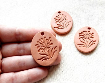 Flower Pendant or Necklace, Botanical Aromatherapy Essential Scented Oil Diffuser, Oval Terracotta Unpainted Ceramics Unglazed Terra Cotta