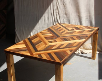 Reclaimed Pallet and Barn Wood Dining Table with Parson Style Wooden Legs - Noctua Pattern