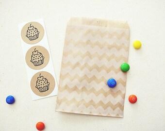 Party Favor Bags Treat Bags Pouches. Party Supplies. Kraft Brown Chevron Stripes Pattern. Birthday Party Favors. Kraft Brown Envelopes.