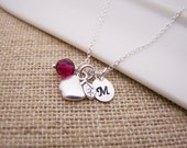 Apple Charm Swarovski Birthstone Initial Personalized Sterling Silver Necklace / Gift for Her