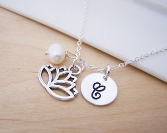 Lotus Flower Charm Swarovski Birthstone Initial Personalized Sterling Silver Necklace / Gift for Her