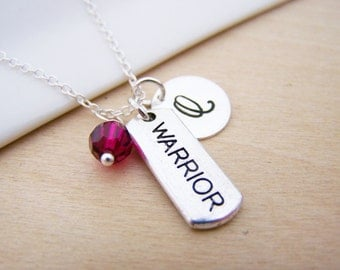 Warrior Charm Swarovski Birthstone Initial Personalized Sterling Silver Necklace / Gift for Her