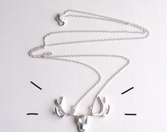 Deer Skull Necklace // Silver