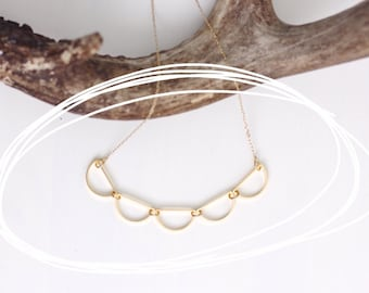 Gold Scalloped Bunting Necklace