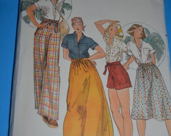 "70s Butterick  4259 ""Kenzo""   Misses Shirt Skirt Pants and Shorts Sewing Pattern UNCUT Size 8"