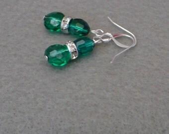 Emerald green Czech glass dangle earring
