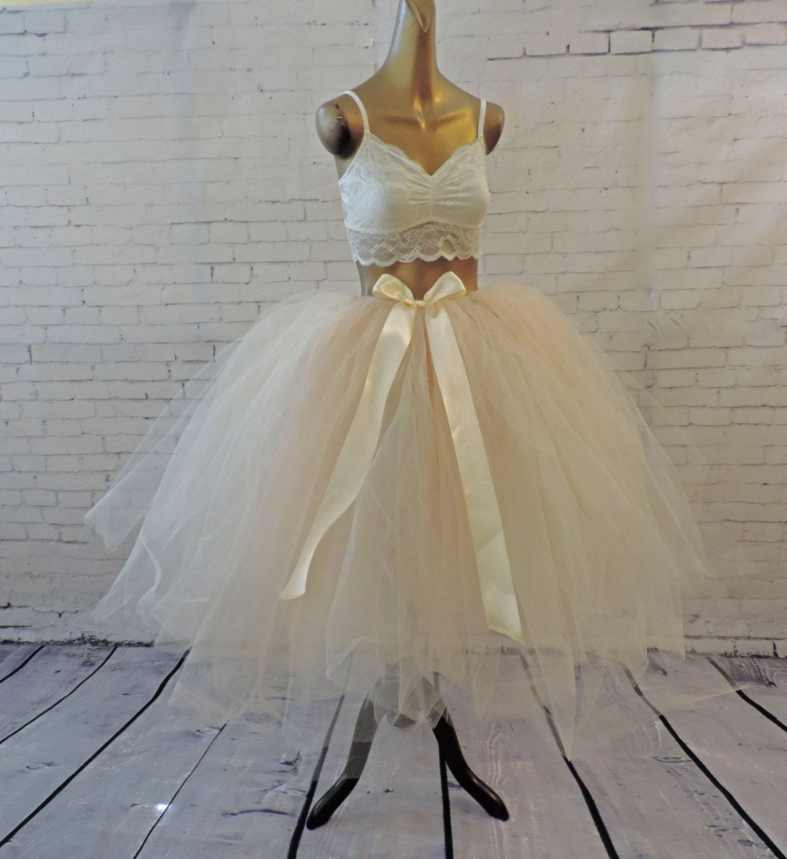 Tulle skirt adult tea length bridal wedding tutu ivory by for Tea length wedding dress tulle skirt