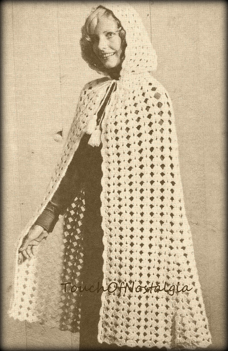 Knitting Pattern For Long Cape : Long CAPE HOODED Vintage Crochet Pattern Long Cape With