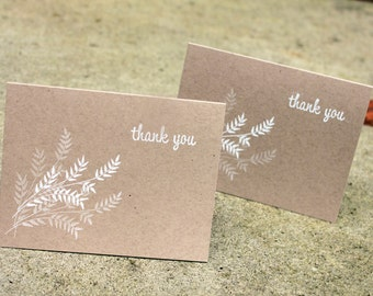 Kraft and White thank you cards, rustic thank you cards, simple thank you cards, rustic kraft thank you, thank you, thank you notes set of 5