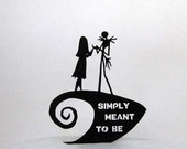 Wedding Cake Topper -The Nightmare Before Christmas sihouette with Simply Meant to Be