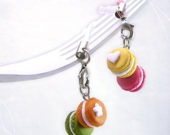 Macarons Charm Dust Plug, Cellphone Mini Food, Colorful charm, Macaron Accessory, Kawaii Charm, Teenager gift,Foodie gift,Colorful accessory