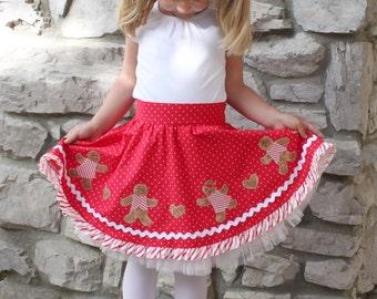 Christmas skirt pdf pattern girls toddler gingerbread boy Christmas dress twirl circle skirt ruffle LETS GO to the  HOP