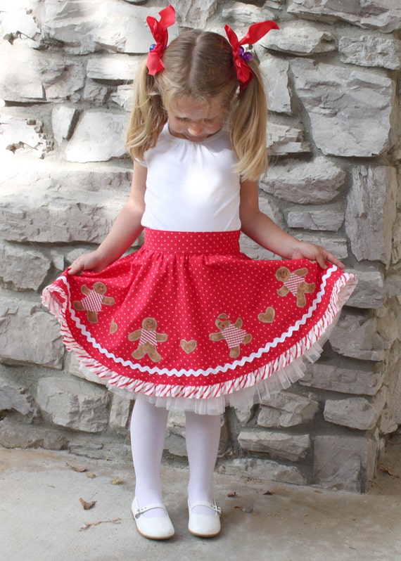 Christmas skirt pdf pattern girls toddler gingerbread boy