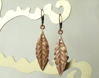 French Vintage Art Deco Copper Leaf Earrings