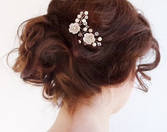 Bridal crystal  headpiece, wedding hair jewelry, Little Flowers mini crystal and pearls hair comb, small bridal comb hair piece Style 265