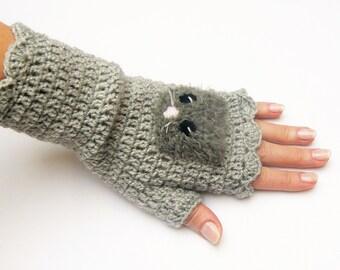 Fingerless Gloves, Crochet Mittens,  Gloves with Cat, Arm Warmers, Fingerless Mittens, Crochet Gloves, Hand Warmers, Women Accessory