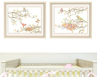 baby girl nursery art, Shabby Chic  Nursery Decor Love Birds art baby girl wall art bird print shabby chic print, butterfly art baby gift