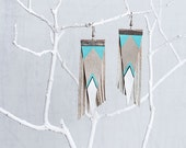 Aztec Tribal Geometric Genuine Leather Earrings/ Light Blue And Gray Earrings
