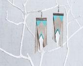Aztec Tribal Geometric Genuine Leather Earrings/ Light Blue And Gray Earrings