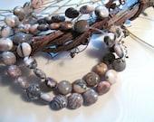 Rhodonite gemstone 10mm coin beads 10 inch strand