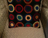 Rug Hooked Pillow of Penny Circles