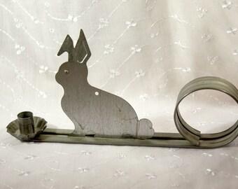Vintage Primitive Tin Rabbit Taper Candle Holder