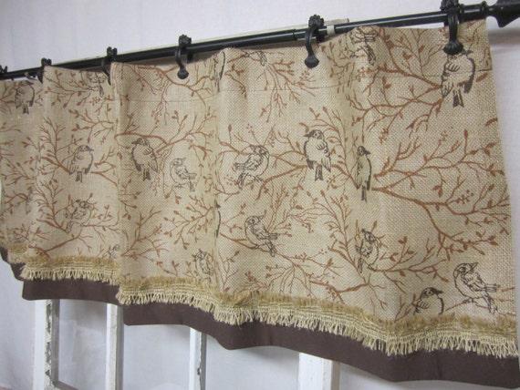 Items similar to Burlap curtain, burlap valance, bird printed burlap ...