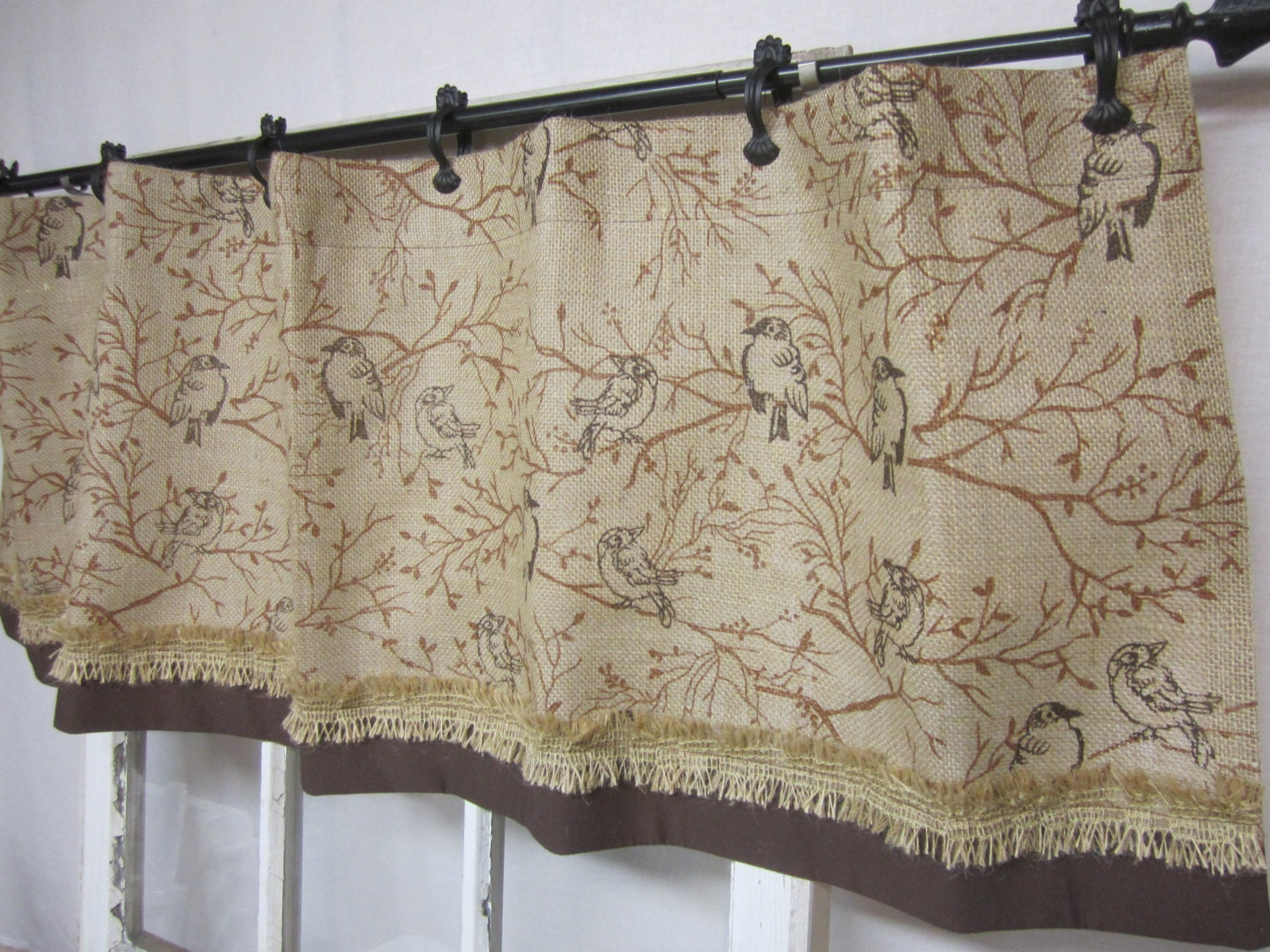 Burlap Valances For Windows : Burlap curtain valance bird printed by