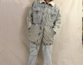 Mad Steezy Vintage 80's Stone Wash Denim And Shearling Lined Winter Jacket