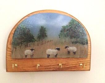 Key holder, hand painted sheep, Valentine's Day gift, wall key holder, teacher gift, Gift for Mom, country key holder