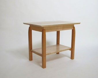 Small Coffee Table With Shelf  Narrow Coffee Table, Modern Wood Coffee Table   Handmade
