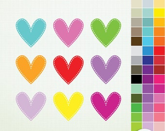 Stitched Hearts- 45 Hearts Clip Art ClipArt Scrapbooking Commercial Instant Download G7508