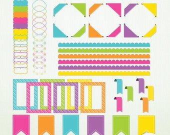 Digital Clip Art - Frames Corners Flags Borders Candy Store ClipArt Scrapbooking Instant Download & Printable G7071