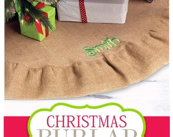 Burlap Christmas Tree Skirt with Monogram