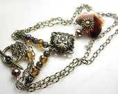 Vintage Style Necklace Antique Gold Flower and Butterfly Flower and Leaves Necklace Swarovski and Czech Crystal Victorian Style Gift for her