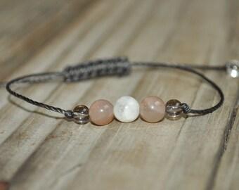 Moonstone Yoga Bracelet, Sun Stone, Smoky Quartz, Crystal Healing Bracelet, Meditation Bracelet, Minimalist Jewelry, Good Fortune, Luck