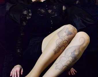 Beautiful Tattoo Tights With Butterflies Print