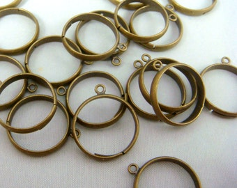 Ring - Adjustable Brass Ring with Loop - Brass Ring with Loop - 18mm Ring - Select Qty. from Options (EC159-AB)