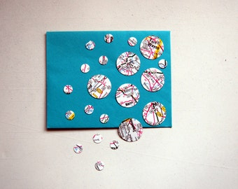Round Stickers, Envelope Seals Handmade from Vintage Road Maps, 2 Sizes