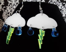 Unique Rain Clouds with Lightning Bolt Dangle Earrings Laser Cut White, Blue and Neon Yellow Acrylic Hypoallergenic Frizzle