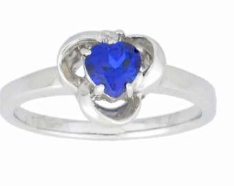 0.50 Ct Blue Sapphire & Diamond Heart Ring .925 Sterling Silver Rhodium Finish