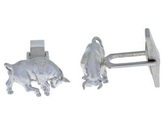 Bull Cufflinks .925 Sterling Silver Rhodium Finish