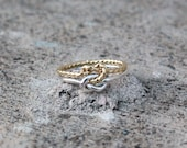 Celtic Double Love Knot Gold Twist and Sterling Silver Ring