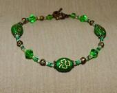 Green Shamrock Bracelet with Bronze Accents St Patrick Irish Emerald