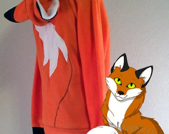 Orange Fox Fleece Hoodie - Adult Sizes S-3XL