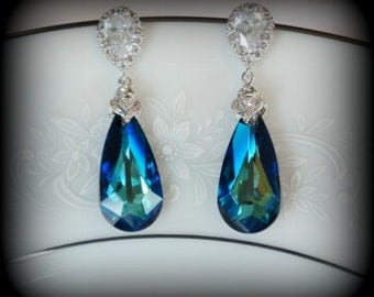 Bermuda Blue Swarovski Crystal Earrings, Bridal Earrings, Blue Wedding Earrings, Bridesmaid Earrings, Dangle Drop Earrings, Wedding Jewelry