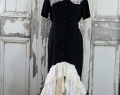 Black Western Style Upcycled Dress Downton Abbey Style Vintage Lace Western Wedding