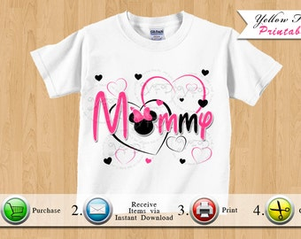 Minnie Mouse Mommy Iron On Printable, Minnie Mouse Birthday Outfit Printables, Minnie Mouse Shirt Image, Black and Pink - YOU PRINT