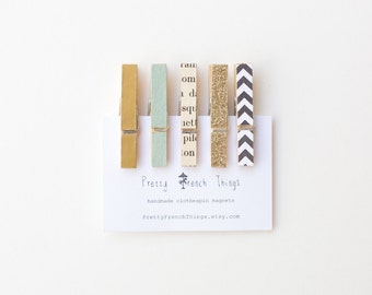 French Refrigerator Magnet Set- Mini Clothespin Clips - gold and black